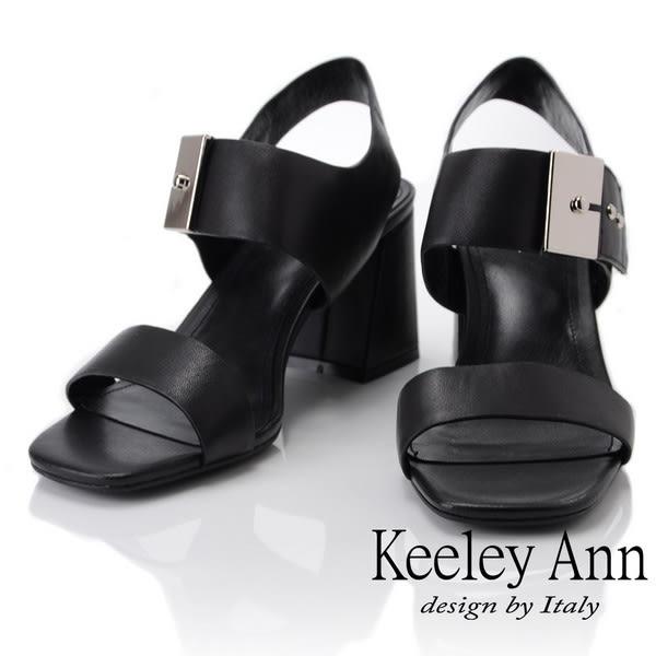 ★2019春夏★Keeley Ann簡約一字帶 歐美方頭大飾釦粗跟涼鞋(黑色) -Ann系列