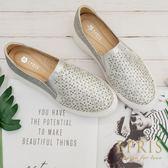 現貨 雷射水鑽雕花 好走不磨腳百搭內增高厚底懶人鞋 EPRIS艾佩絲-時尚銀