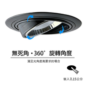 【光的魔法師】15公分 360度旋轉LED可調角度LED嵌燈(黑殼)白光6000K