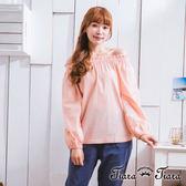 【Tiara Tiara】激安 平口長袖縮口上衣(白/粉/格紋)
