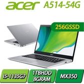 【256SSD升級版】A514-54G-5752銀I5-1135G7/8G/256SSD+1TBHDD/MX350/14