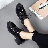 春秋新款復古深口圓頭粗跟英倫風女鞋布洛克女中跟單鞋漆皮小皮鞋「時尚彩虹屋」