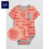 Gap男嬰兒 柔軟妙趣印花圓領短袖包屁衣 464593-橙色