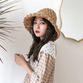 韓版休閒度假帽子女簡約小清新草帽可折疊沙灘帽大沿百搭遮陽帽 一次元