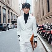 西裝套裝含西裝外套+西裝褲(二件套)-日系袖口雙槓設計伴郎男西服2色73hc75【時尚巴黎】