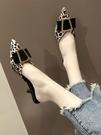 懶人包頭半拖鞋女新款春季試衣鞋高跟涼拖鞋細跟外穿時尚尖頭 依凡卡時尚