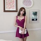 現貨紫M吊帶無袖洋裝夜店裙19266