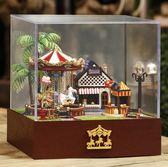 創意木質旋轉木馬diy音樂盒擺件兒童節送閨蜜生日禮物LK1208『黑色妹妹』