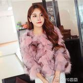 新款秋冬季海寧仿狐貍毛皮草外套女士短款韓版修身顯瘦大衣潮  ciyo黛雅
