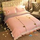 床罩四件套韓式公主風床裙床罩式花朵蕾絲花...