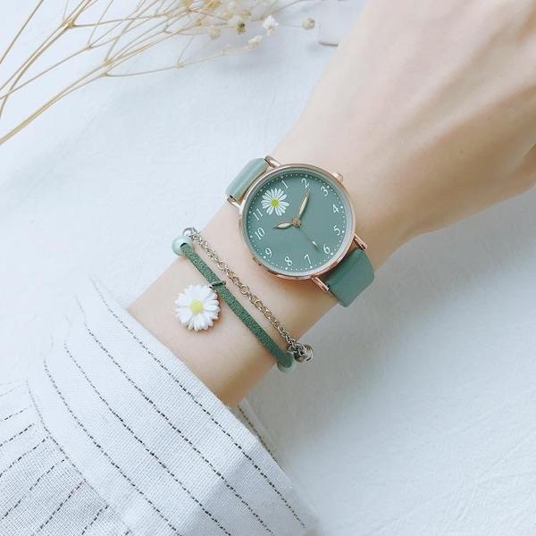 手錶 小雛菊少女手表綠色森系ins學院風韓版簡約氣質文藝復古港風學生 歐歐