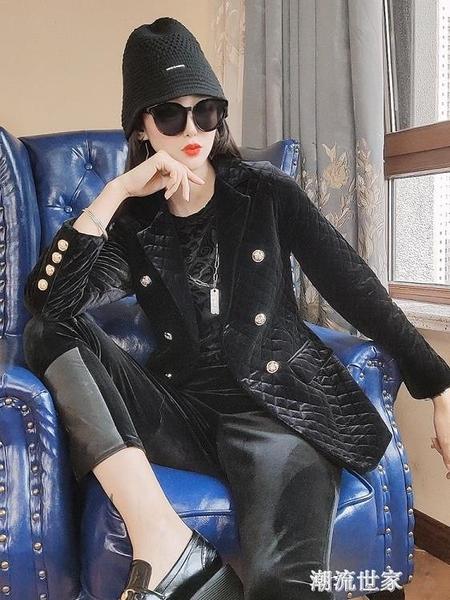 金絲絨小西裝外套女2020秋冬新款韓版短款黑色加厚夾棉西服上衣 『潮流世家』