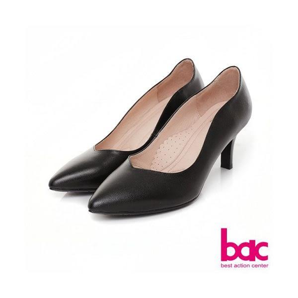 【bac】浪漫美學-波浪小V口尖頭高跟鞋(黑色)