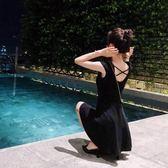洋裝女夏新款韓版黑色心機露背收腰慵懶風pphome裙子女裝夏      芊惠衣屋