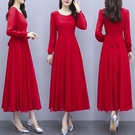 雪紡洋裝 秋裝長袖紅色連身裙2021年新款氣質中長款溫柔顯瘦秋冬打底裙 8號店