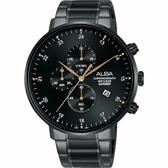 IG 廣告款 ALBA 雅柏 主張自我原創計時手錶-黑/44mm VD57-X146SD(AM3665X1)