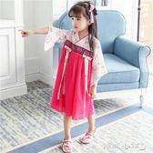 女童古裝 女童改良漢服復古童裝寶寶中國風唐裝古裝襦裙兒童民族風連身裙 傾城小鋪