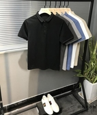 夏季男短袖POLO衫修身翻領T恤純色半袖上衣【時尚大衣櫥】