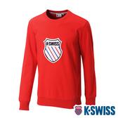 K-SWISS Court Sweaters圓領長袖上衣-男-紅