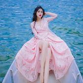 長袖洋裝-V領刺繡蕾絲長款女連身裙3色73pu102[巴黎精品]