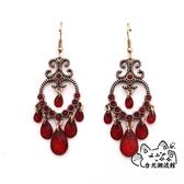 民族風耳飾 耳飾復古民族風長款紅色水滴吊墜耳墜氣質潮流時尚個性耳環女 VK1555