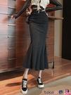 熱賣半身魚尾裙 2021年新款高腰一步中長款裙子女早春季包臀裙顯瘦魚尾開叉半身裙 coco