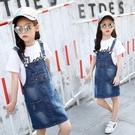 女童牛仔背帶裙童裝新款夏裝韓版中大童洋氣裙子兒童洋裝潮 夏季新品