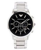 EMPORIO ARMANI  Sportivo  極黑霸氣三眼計時男性手錶 (AR2460)-黑面X銀色/46mm
