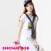 【SHOWCASE】條紋領帶拼接字母笑臉側開叉長版T恤(白)