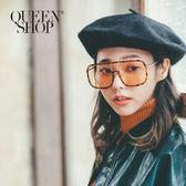Queen Shop【07070148】復古豹紋方形造型眼鏡*現+預*