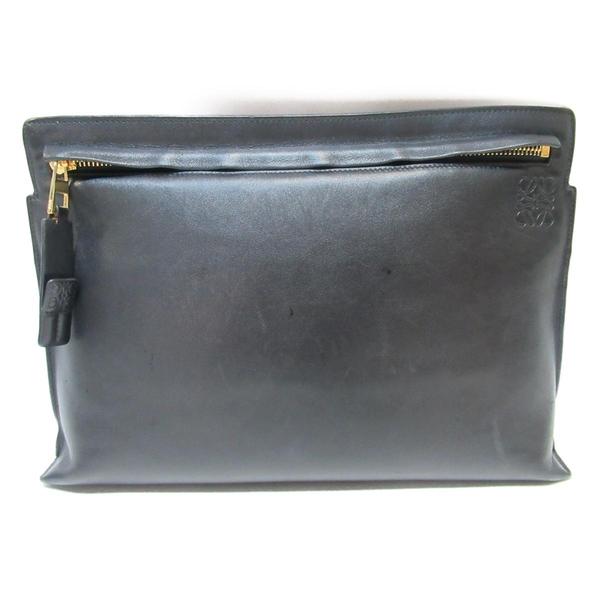 LOEWE 羅威 黑色牛皮斜背包 T Pouch Clutch Shoulder Bag【二手名牌BRAND OFF】