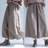 【韓國K.W.】(預購) 瘋時尚歐洲站氣息格子寬褲