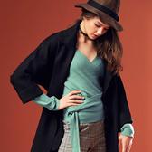 【SHOWCASE】氣質交叉V領綁帶設計款針織衫(綠色)