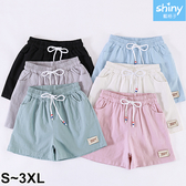 【V9046】shiny藍格子-舒適自然‧百搭顯瘦休閒棉麻短褲