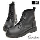馬丁靴 簡約帥氣皮革綁帶短靴-黑