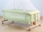 嬰兒床實木搖籃床BB床寶寶床小搖籃工字搖籃送蚊帳 平行搖