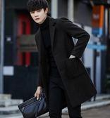 現貨 大衣 男風衣中長款秋冬季新款韓版修身毛呢大衣男士羊毛呢子加厚外套潮