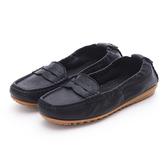 MICHELLE PARK 輕時尚舒適彈力牛皮馬克縫休閒鞋平底鞋-黑