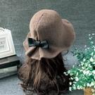 遮陽帽 春天羊毛呢帽子女士時尚圓頂禮帽韓國可愛百搭盆帽網紅漁夫帽潮【快速出貨八折下殺】