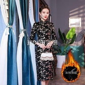 季加厚改良版旗袍媽媽旗袍裙長款婚禮宴會中老年連衣裙 快速出貨