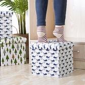 千嶼收納凳子儲物凳成人沙發折疊家用布藝玩具收納箱多功能換鞋凳☌zakka