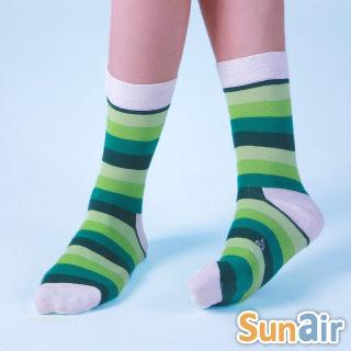 sunair 滅菌除臭襪子- 時尚環型襪M(21~24.5) (綠+白) /SA1301