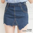 中大尺碼-褲裙NEW LOVER牛仔時尚【111-5786】歐美不規則裁切褲裙-S-2L