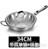 德國無油煙不粘鍋炒鍋304不銹鋼家用無涂層炒菜鍋電磁爐燃氣適用  圖拉斯3C百貨