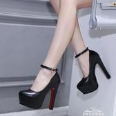 15cm超高跟鞋粗跟單涼鞋女新款防水臺14CM恨天高走秀模特鞋演 夢娜麗莎