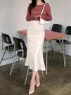 魚尾包臀裙半身裙女夏2021春款垂感裙子女春秋半身長裙設計感小眾 果果輕時尚