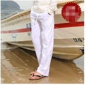 夏季薄款男士休閒亞麻長褲寬鬆大碼沙灘褲棉麻褲子松緊腰透氣男褲 酷男精品館