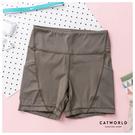 Catworld 純色高腰緊身運動短褲【14001247】‧S-2XL