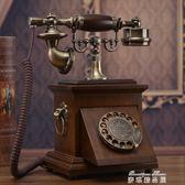 老式民國實木旋轉盤電話機仿古復古撥號電話中式古董家用座機   麥琪精品屋