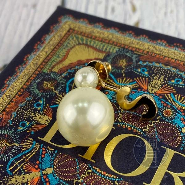 BRAND楓月 Christian Dior 迪奧 金色 字母S 珍珠鑲嵌 垂墜 單邊 針式耳環 飾品 配件